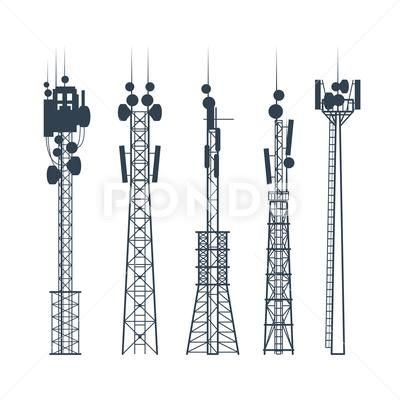 Transmission Cellular Towers Satellite Communication Antenna Silhouette Of Stock Illustration Ad Towers Satellite T In 2020 Cellular Satellites Transmission Tower
