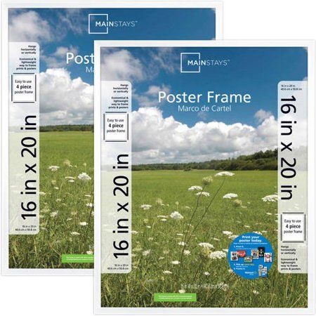 Mainstays 16x20 Basic Poster & Picture Frame, White, Set of