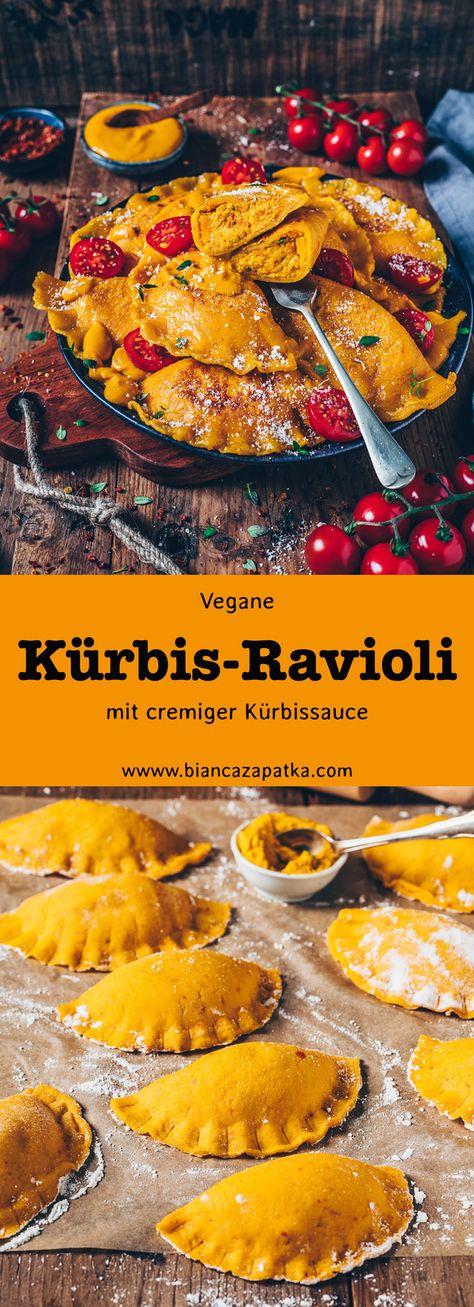 Kürbis-Ravioli mit cremiger Kürbisfüllung (Kürbis-Maultaschen) und Kürbis-Sauce für Nudeln mit Tomaten