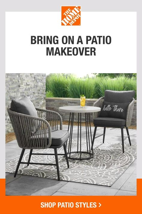 Bring on spring with fresh patio pieces from The Home Depot. From coastal to farmhouse, we have the styles you need to complete your look. And with dining sets, patio sofas, cushions, and more from top brands like StyleWell, you can find everything for your backyard escape. Tap to shop our selection of patio styles, online at The Home Depot.