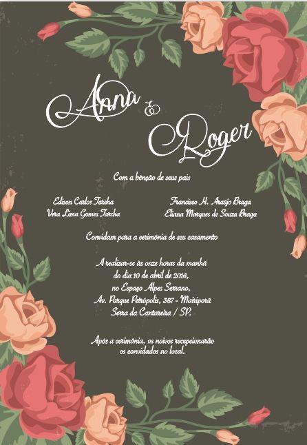 Convite De Casamento Floral Arte Para Editar Baixe No Site Sua