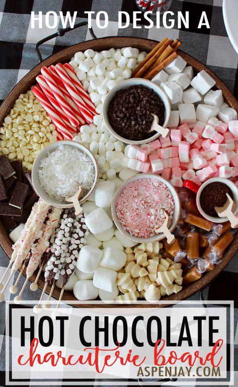 Christmas Hot Chocolate, Hot Chocolate Bars, Hot Chocolate Recipes, Chocolate Sprinkles, Chocolate Chips, White Chocolate, Charcuterie Recipes, Charcuterie And Cheese Board, Cheese Boards