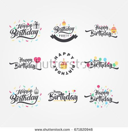 Cute and Funny Happy Birthday typography and calligraphy vector design, for greeting cards and poster with balloon, confetti and gift box, design template for birthday celebration. Vector Illustration