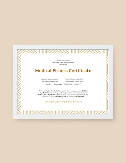 Medical Fitness Certificate Template Free Jpg Google Docs Illustrator Indesign Word Apple Pages Psd Publisher Template Net Certificate Templates Free Medical Medical