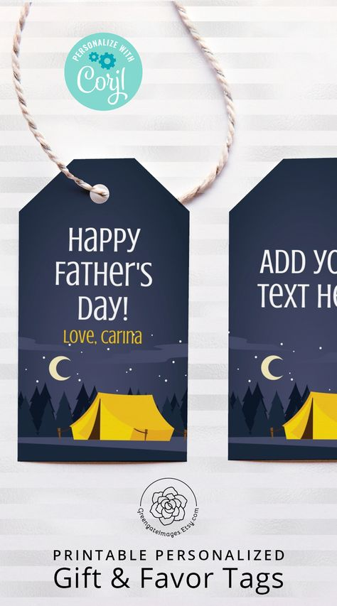 #fathersday #fathersdayideas #camping #tent #outdoors #guybirthday #manbirthday #boybirthday #campingtrip #campingbirthday #campingparty #giftsfordad #dadbirthday #gifttag #printablegifttag #hangtag #multipurposetag #nametag #corjl #editable #personalized #custom #favorbagtag #favortag #instantdownload #partyprintables #birthday