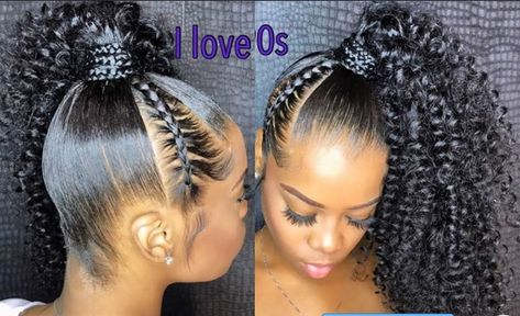 How to do cute style side ponytail [Video] - Black Hair Information Curly Ponytail Weave, Curly Side Ponytails, Ponytail Styles, Sleek Ponytail, Curly Hair Styles, Natural Hair Styles, Half Ponytail, Braided Updo, Box Braids Hairstyles