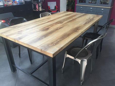 Meuble Industriel Table De Salle A Manger Pied Acier 4 Tiroirs
