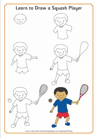 Learn To Draw A Squash Player Sports Drawings Learn To Draw Basic Drawing