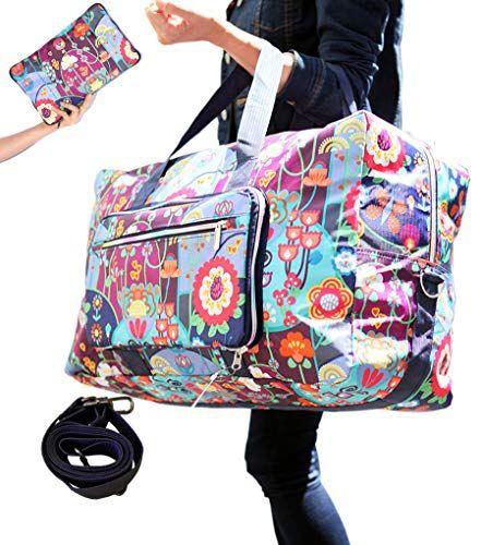 02428c54f958 Womens Foldable Travel Duffel Bag 50L Large Cute Floral Travel Bag ...