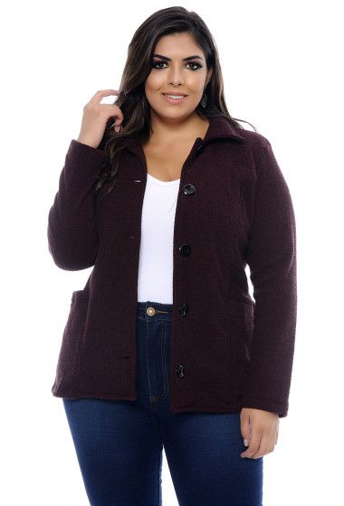 d1a32cd1a Jaquetas | Casacos | Blazers Plus Size | Liló Fashion Casaco plus size uva  confeccionado em
