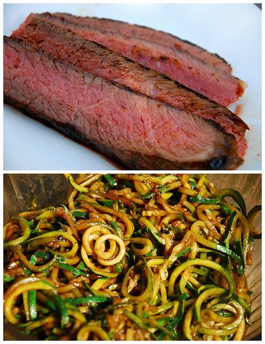 Paleo Balsamic Marinated London Broil Steak with Pan-Fried Zucchini Noodles (343 cal, 4 servings) | by Clean Eats in the Zoo | INGREDIENTS: 1.5-2 lb London broil steak, 4 T balsamic vinegar, 4 T olive oil, 2 cloves garlic, minced, 1.5 tsp salt, 1/2 tsp pepper, 8-9 zucchini, ends cut off, 1 tsp red chili pepper flakes, 1-2 cloves garlic, minced