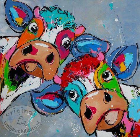 Vrolijk Schilderij Duo in Blauw