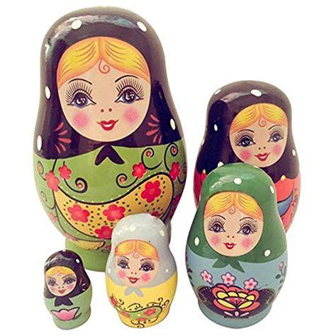 Ragazze 10PCS Legno Russo Matrioska Babushka Nesting Dolls Regalo di Natale