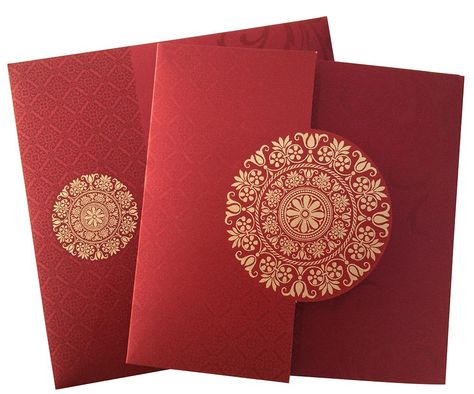 US-1560, Made from Red maroon color shimmery finished card stock. This attractive invitation card comes with a perfectly matching envelope and two inserts. Border of the envelop gives a touch to all your expectation about the invitation.