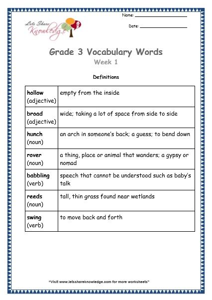 Grade 3 Vocabulary Worksheets Week 1 Definitions Vocabulary Words Vocabulary Worksheets Vocabulary