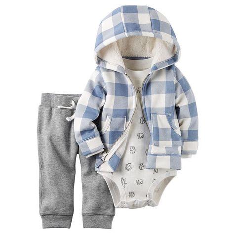 a25a344e89e8d Baby Boy Carter's Buffalo Checkered Cardigan, Polar Bear Thermal Bodysuit & Pants  Set,