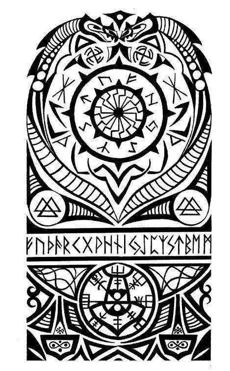 Viking Nordic Tribal Halfsleeve Tattoo Tattoo Com Viking Tribal Tattoos Scandinavian Tattoo Nordic Tattoo
