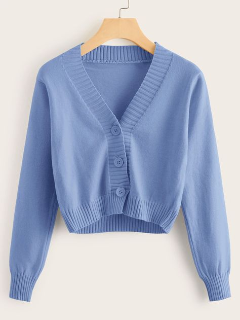 Solid Button Through Crop Cardigan | ROMWE