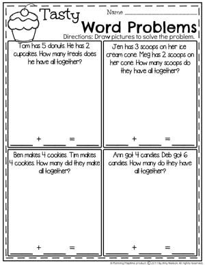 Addition Worksheets Planning Playtime Addition Words Word Problems Kindergarten Word Problems