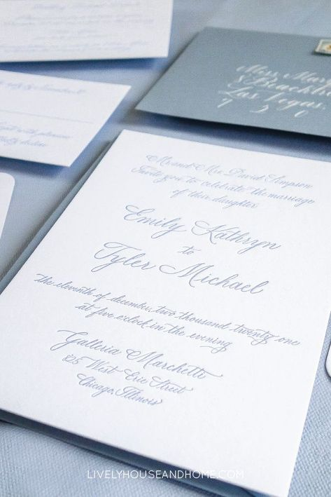 Dusty blue custom letterpress calligraphy wedding invitation suite. Handwritten entirely in calligraphy, this luxury invitation suite in letterpress features a dusty blue calligraphy envelope, vintage stamps, custom coaster and calligraphy wedding menu. #calligraphyweddinginvitations #calligraphyletterpressweddinginvitations #dustyblueweddinginvitations #letterpress #letterpressweddinginvitations #chicagocalligrapher #chicagoweddinginvitations #weddingcoasters