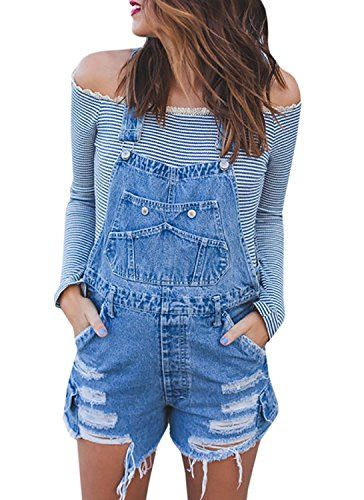 pipigo Women Casual Ripped Distressed Girls Jumpsuit Romper Denim Shortalls Overall Shorts