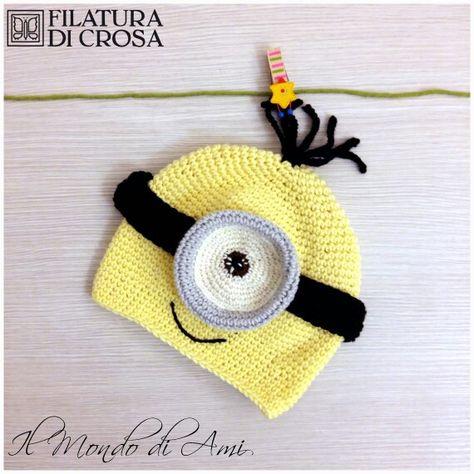 """Minion Mania! Berretto Minion realizzato con filato """"Zara"""" Filatura di Crosa #berretto #hat #uncinetto #fattoamano #minions #despicableme #cattivissimome #minion #crochet #handmade"""
