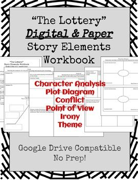 The Lottery Story Elements Workbook Digital Paper Versions Workbook The Lottery Story Story Elements