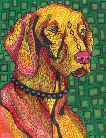 FLASH SALE Boxer art Tile Ceramic Coaster  Folk Art Print of painting by Heather Galler Dog