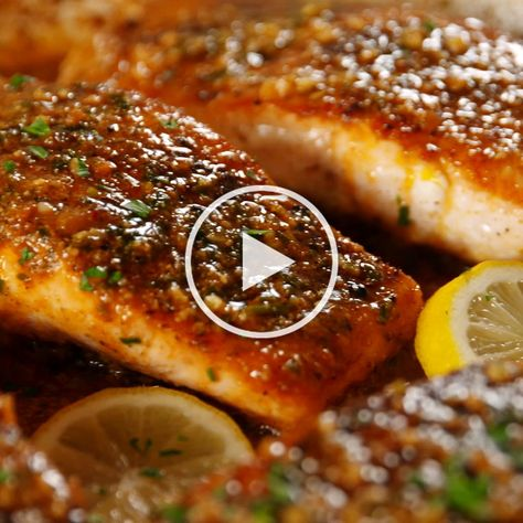 This salmon has a simple sauce thats made right in the pan. A little kick from the cajun seasoning and a little sweet from the honey its the perfect combo. Serve it alongside some roasted potatoes and extra Parmesan!  Get the recipe at Delish.com. #recipes #easyrecipes #healthyrecipes #salmon #dinner #delish