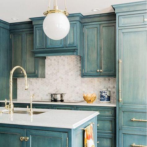 Hood Classic Globe Pendant. Pendant lighting. Kitchen lighting. Blue cabinets. Blue and white kitchen. Brass fixture. Brass kitchen hardware.