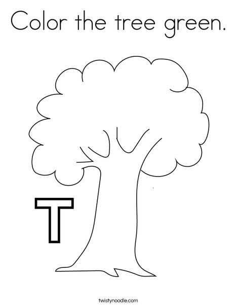Color The Tree Green Coloring Page Twisty Noodle Tree Coloring