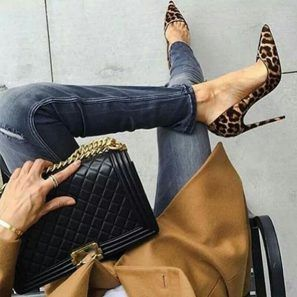 Pumps Flock Leopard Print Sexy Stilettos Heels - BeFashionova