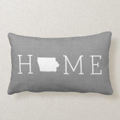 Iowa Rustic Gray Home State Throw Pillow Zazzle Com State Throw Pillows Throw Pillows Pillows