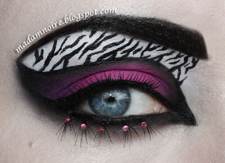 Purple Black And White Zebra Inspired Eye Makeup With Jewel