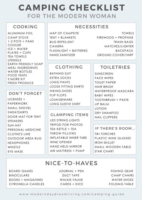 A Modern Camping Guide  Printable Checklist  Camping Modern And