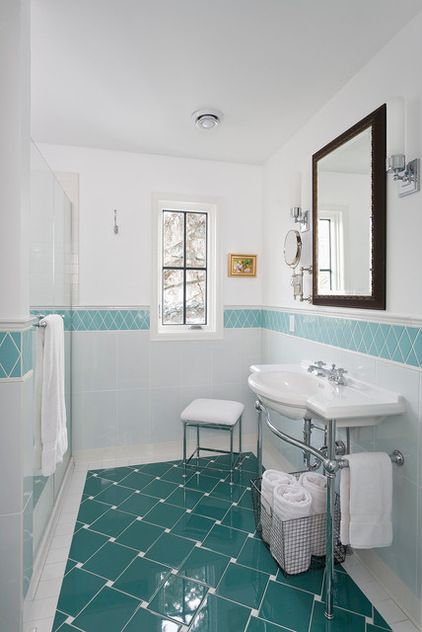 Bathroom White With Turquoise Tile Teal Floor Tiles Traditional By Meriwether Inc Colour In 2019 Border Small