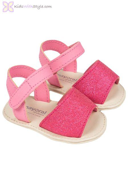 Baby Girl Glitter Sandals in Pink www