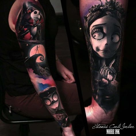 awesome Tattoo Sleeve - tattoo sleeve nightmare before xmas...