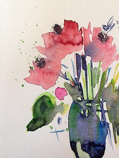 Kaufe Abstrakte Mohnblumen In Der Vase Von Britta75 Auf Folgenden Produkten T Shirt Classic T Shirt Vintag With Images Abstract Watercolor Abstract Poppies Flower Art