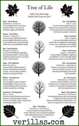 wicca celtic zodiac garden tree birth # Celtic Trees and Personality Traits. I am not sure that this is traditional, but it does seem to be accurate. Magick, Witchcraft, Celtic Mythology, Book Of Shadows, Occult, New Age, Tarot, Tree Of Life Meaning, Tree Tattoo Meaning