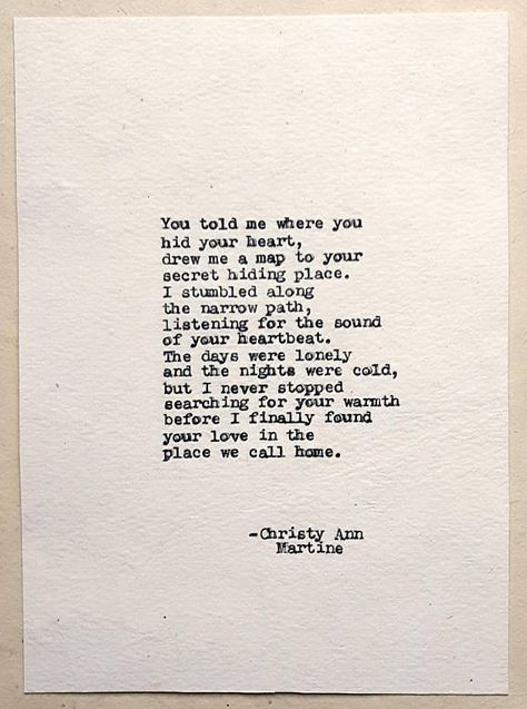 Map to His Heart Poem Typed With Antique Typewriter ~~~~~~~~ Hi, I'm Christy, a writer, and poet. I've written all of the poems you see in my shop. I will type out this poem with my 1936 Remington typewriter onto off-white handmade cotton paper for a wonderful vintage look. The