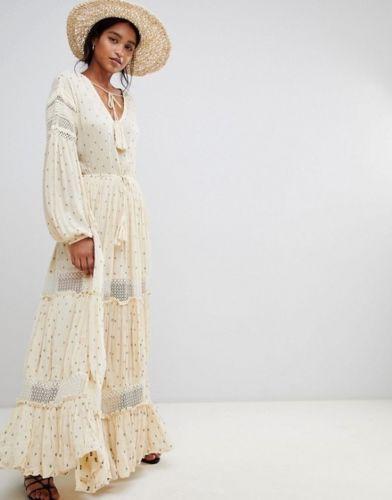 Long Sleeve Boho Maxi Dress Ivory