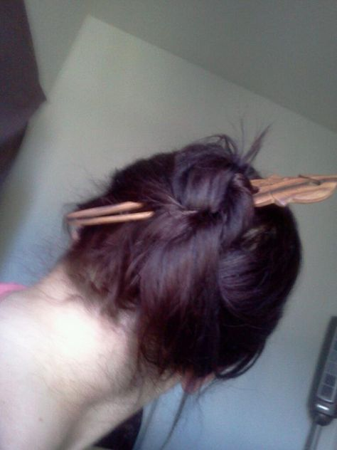 Wooden hair sticks are better because they dont break your hair.