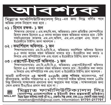 Bd Jobs All Job Circular Of Bangladesh Millat Pharmaceuticals