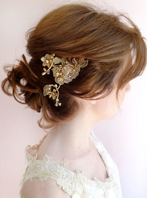 lace hair clip, bronze gold hair jewelry,