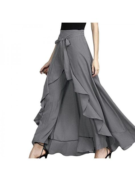 Skirts for ladies Fashion 2020 New Wrap Skirts Women Casual Fashion Navy Chiffon Tie-Waist Ruffle Wide Leg Loose Pants Women Skirts - - Fashion 2020, Look Fashion, Womens Fashion, Steampunk Fashion, Gothic Fashion, Ladies Fashion, Casual Office Fashion, Diy Kleidung, Athleisure Trend