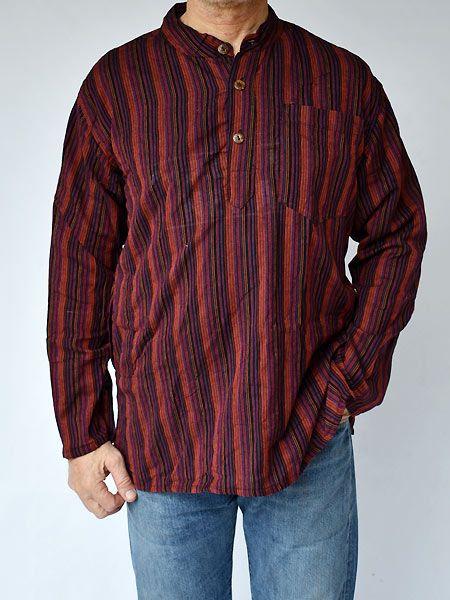 New Men/'s Stonewash Cotton Grandad Collarless Hippie Shirt up to Plus Size