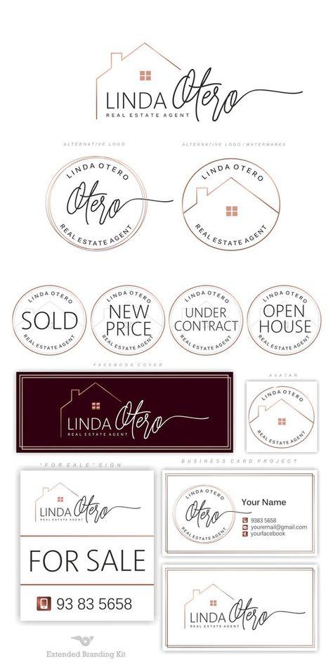 Cration De Logo Immobilier La Maison Agent Image Marque Luxe Kit Moderne Carte Visite Courtier