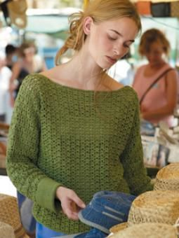 Crochet slash-neck sweater in lightweight cotton. - SOOOO Pretty - going to have to try this one!!!!