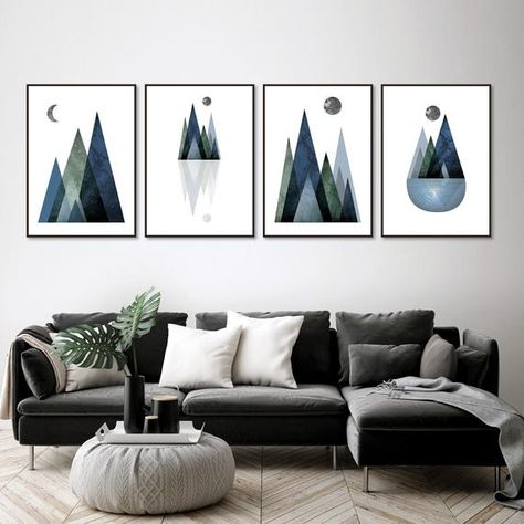 Printable Art Downloadable Prints Set Of 4 Scandi Mountains Navy Blue Hunter Green Scandinavian Modern Navy Blue Decor Trio Wall Art Downloadable Print Printable Art Navy Blue Decor